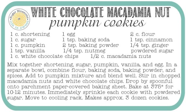 WCMNP Cookie Recipe Card